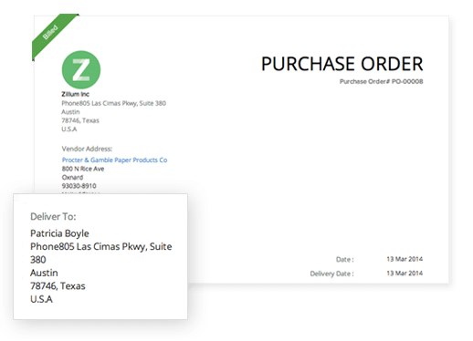Zoho Books Purchase Order