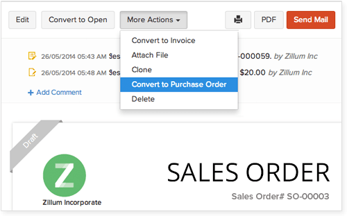 Zoho Books Sales Order